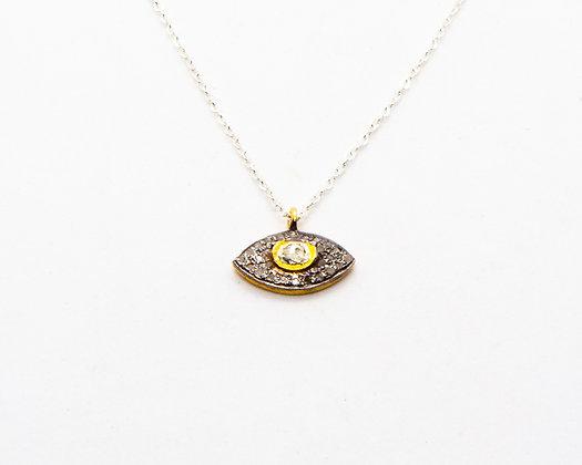 collier argent et oeil diamants bruts - bijoux bohème - bijoux createur - bijoux boho - the boho society