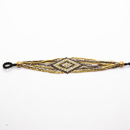 Kali |  Bracelet de createur tissé de perles de laiton recyclées