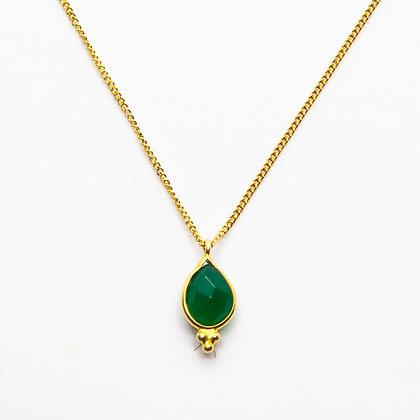 Demi | Collier de créateur plaqué or et onyx vert
