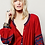 The boho society - robe kaftan brodée rouge bordeaux - ethnique chic