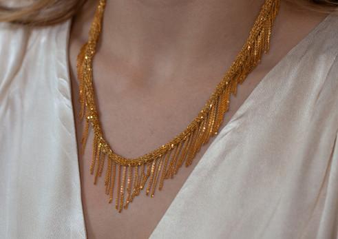 collier tressé en argent plaqué or avec
