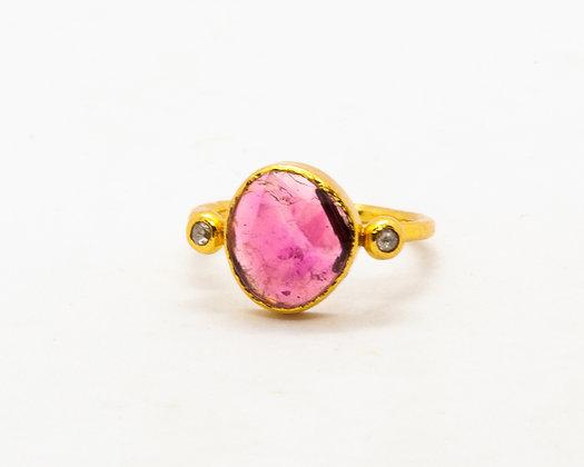 Bague tourmaline verte et diamant- bijoux createur - bijoux boho-bijoux boheme - the boho society