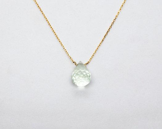 collier ras de cou or 18 carats pendentif goutte améthyste - bijoux créateur - the boho society