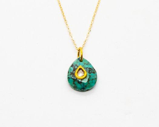 Collier en or 9 carats avec pierre turquoise et diamant- bijoux createur - bijoux boho-bijoux boheme - the boho society
