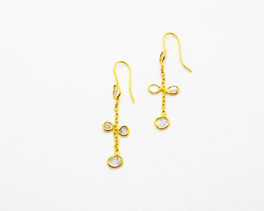 Boucles d oreilles plaque or et diamant- bijoux createur - bijoux boho-bijoux boheme - the boho society