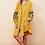 The boho society - robe kaftan brodée jaune safran - boheme chic