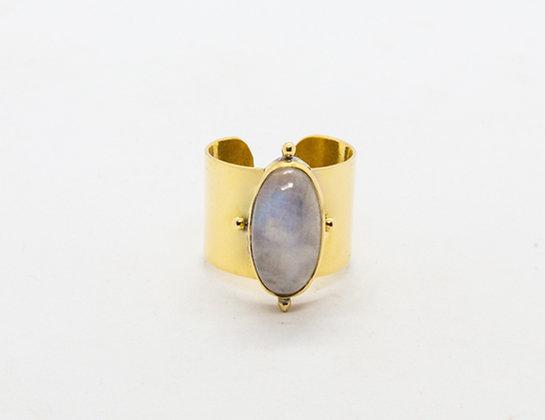 bague fantaisie laiton pierre de lune- bague créateur - hello vinties - the boho society