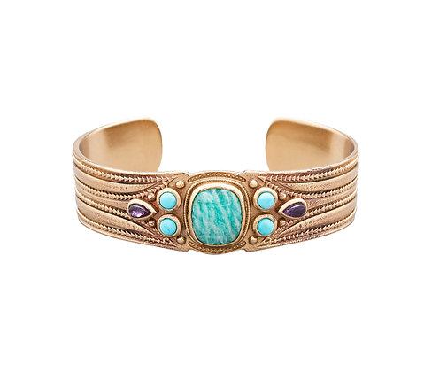 bracelet jonc java amazonite atelier plume- bijoux bohème - bijoux createur - bijoux boho - the boho society