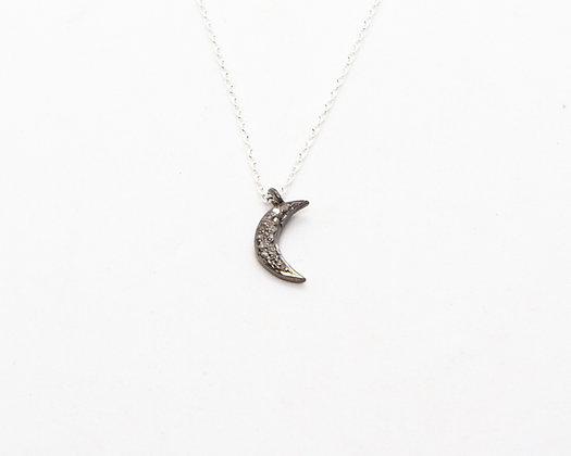 collier argent et lune diamants bruts - bijoux bohème - bijoux createur - bijoux boho - the boho society