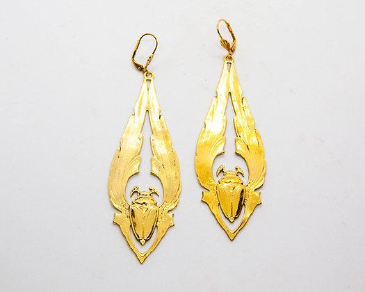 boucles d oreilles pendantes scarabee lotta djossou - bijoux createur - bijoux boheme - boho chic - the boho society