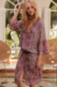 robe kaftan imprime fleuri - robe longue