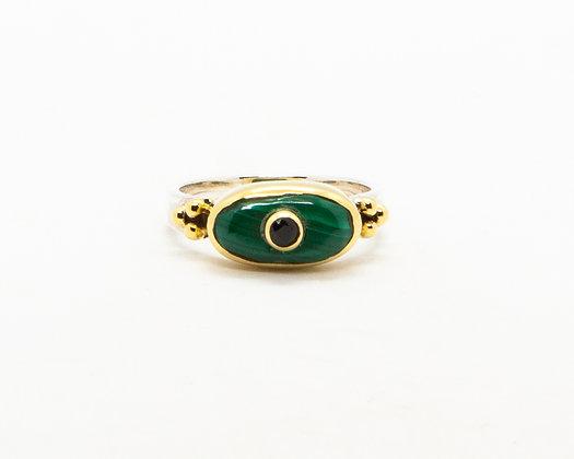 Bague femme argent pierre verte malachite - bijoux créateur canyon - boho chic - the boho society