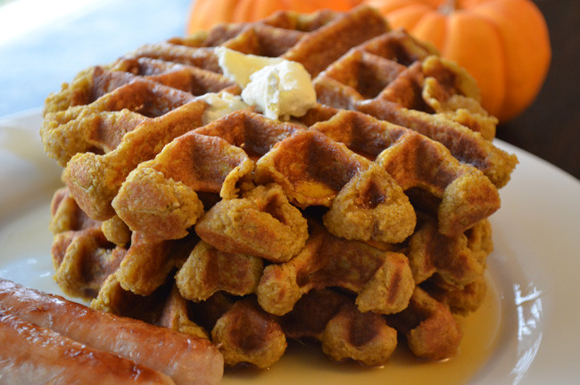Pumpkin Pie Oatmeal Waffles
