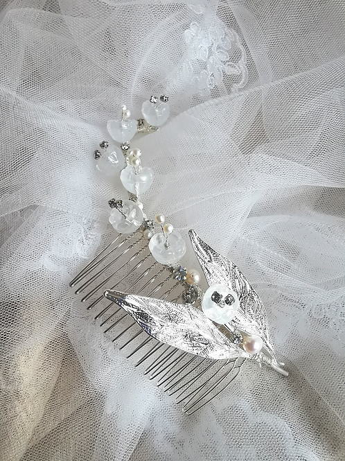 Muguet lily of the valley bridal headpiece