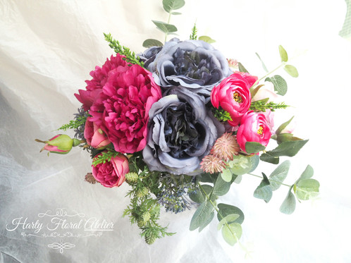 Purple and shocking pink silk flower bouquet this is a stylish silk flower bridal bouquet with a mix of purple and shocking pink colour with purple and pink garden rose shocking pink peony anemone mightylinksfo