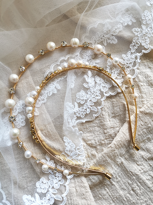 The Isabelle baroque pearls bridal headband
