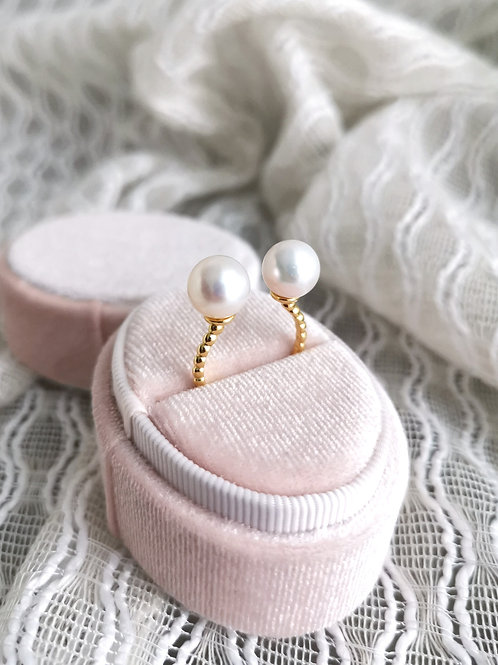vintage inspired twin pearl ring