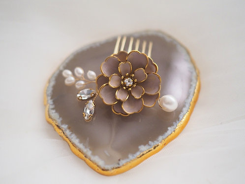 Aya petite hand painted rose and pearls comb