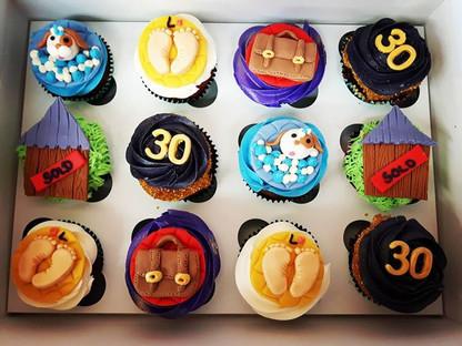 Big year happy birthday cupcakes! #30thbirthday #newhouse #newbaby #newjob #doggy #cupcakes #buttercream #fondant #customcupcakes #glutenfre