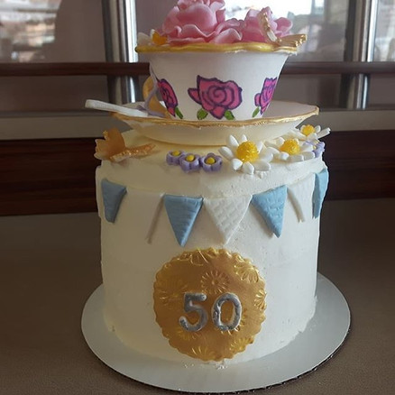 Tea lovers cake #lemoncurd #tea #fondant #buttercream #alledible #50thbirthday #birthday #butterflies #order #cake #downtown #gananoque #hot