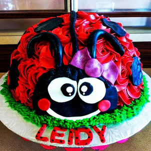 Lady bug cake with matching cupcakes for