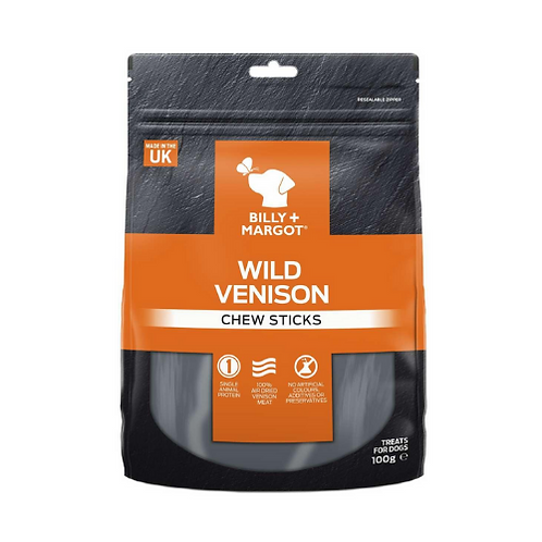Billy & Margot Wild Venison Chew Sticks - 100g