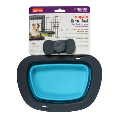 Dexas Popware Collapsible Kennel Bowl - Blue - Large (20oz)
