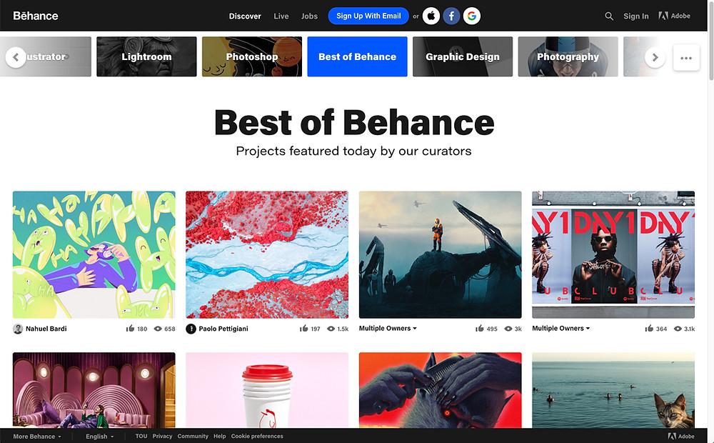 screenshot of behance home page