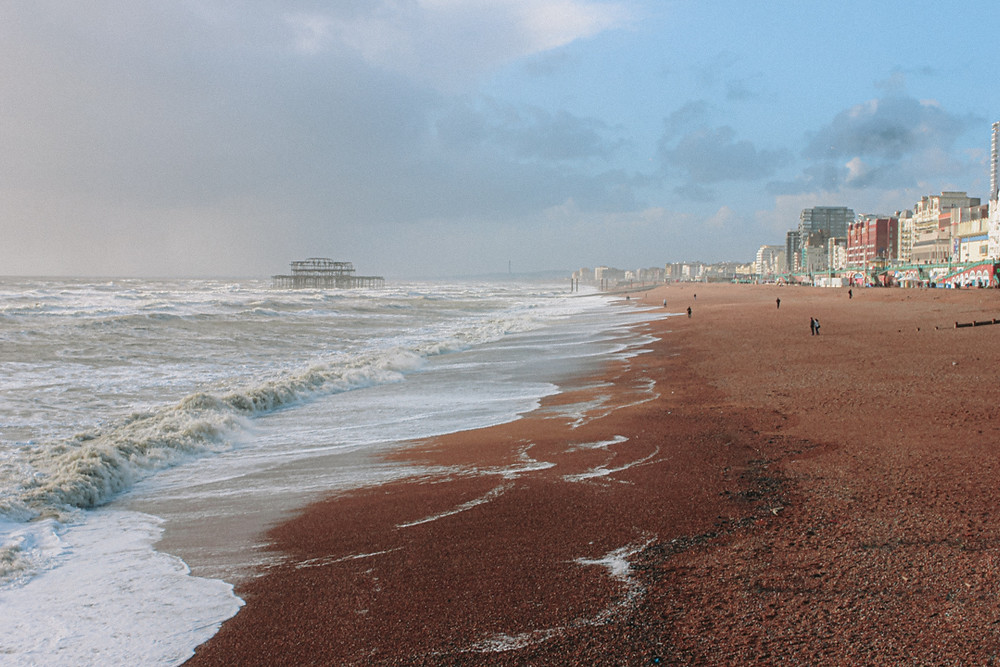 Stormy seafront in Brighton
