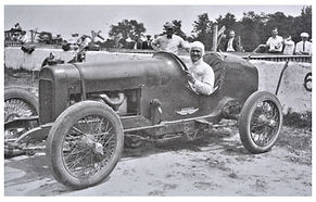 Wilbur Shaw in a re-bodied 183 Frontenac race car
