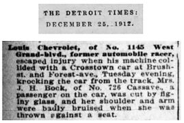 Louis Chevrolet knocks streetcar off of tracks
