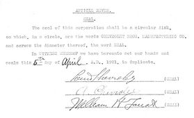 Document signed by Louis Chevrolet and Arthur Chevrolet