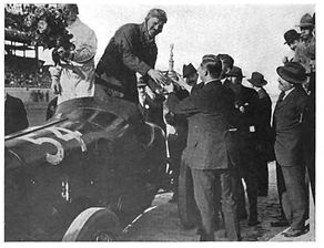 Louis Chevrolet celebrates in Victory Lane