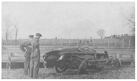 Gaston Chevrolet wrecks car at Uniontown 1917.
