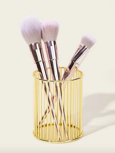 Metallic Makeup Brush Storage Bucket
