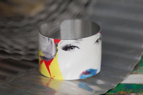 White Gloss Aluminum Pop Art Female Face Cuff Bracelet