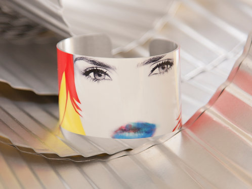 White Gloss Aluminum Pop Art Female Face Cuff Bracelet