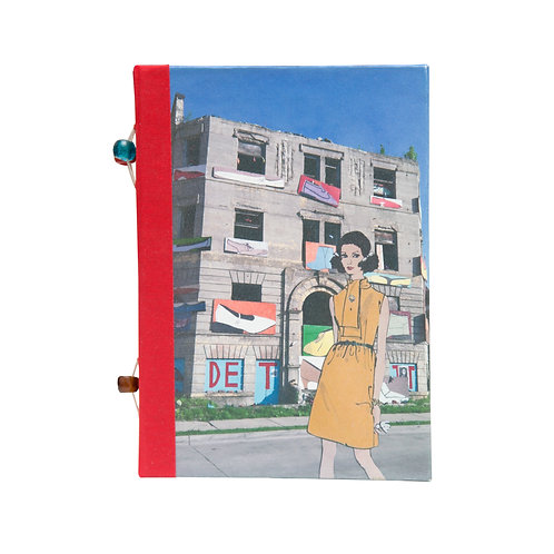 "Handmade 5""x7"" Detroit (paper) Dolls Mixed Media Collage Journal"
