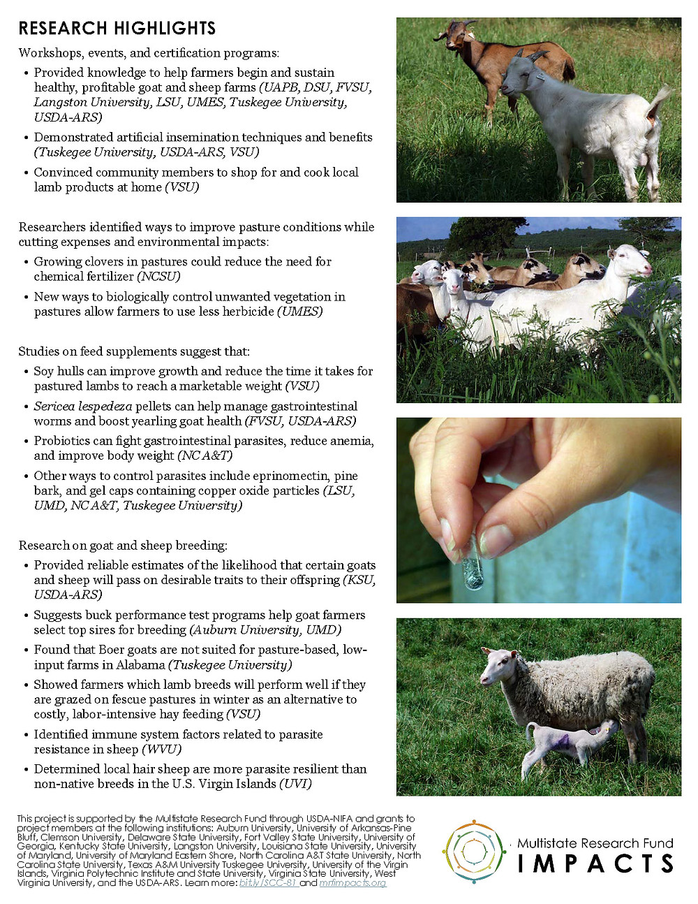 Raising Sheep and Goats in the Southeast. Click to view/download a PDF of the Impact Statement.
