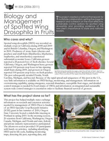 Managing Fruit Flies (W-504 | 2006-2011)
