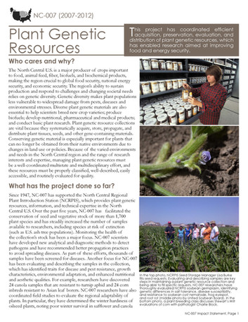 Conserving Plant Genetic Resources in the Midwest (NC-007   2007-2012)