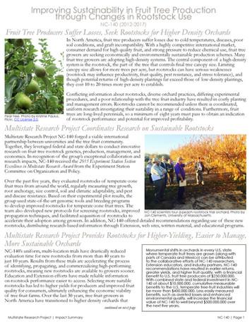 Improving Fruit Tree Rootstock (NC-140 | 2012-2017)