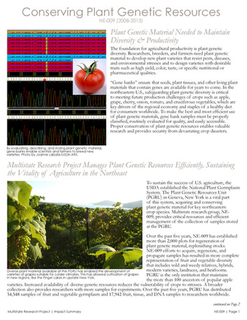 Conserving Plant Genetic Resources in the Northeast (NE-009   2008-2013