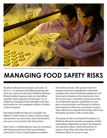 Managing Food Safety Risks (S-1056 | 2013-2018)