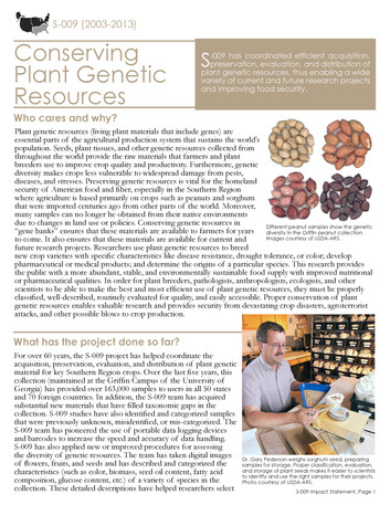 Conserving Plant Genetic Resources in the South (S-009   2003-2013)
