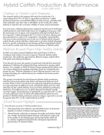 Hybrid Catfish Production & Performance (S-1031 | 2008-2013)