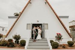Wedding day bride groom church