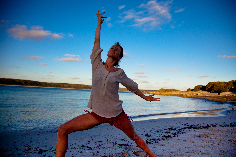 Yoga pose, beach, southwest WA