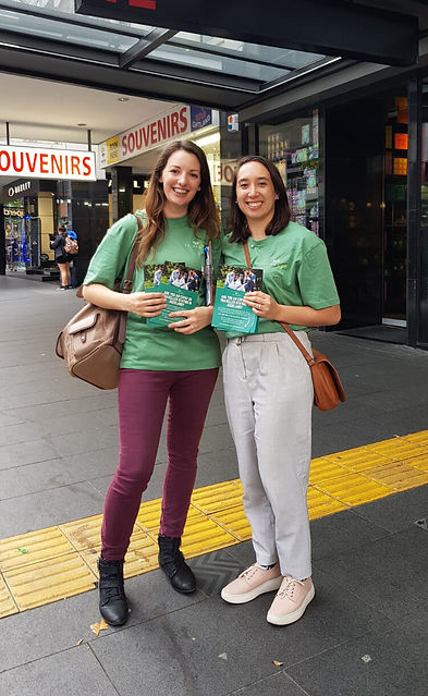 Emily and Tash advertising The Expat Game Experience on Queens Street in Auckland