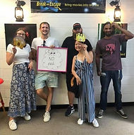 Team See No Evil playing an Escape Room together for their prize